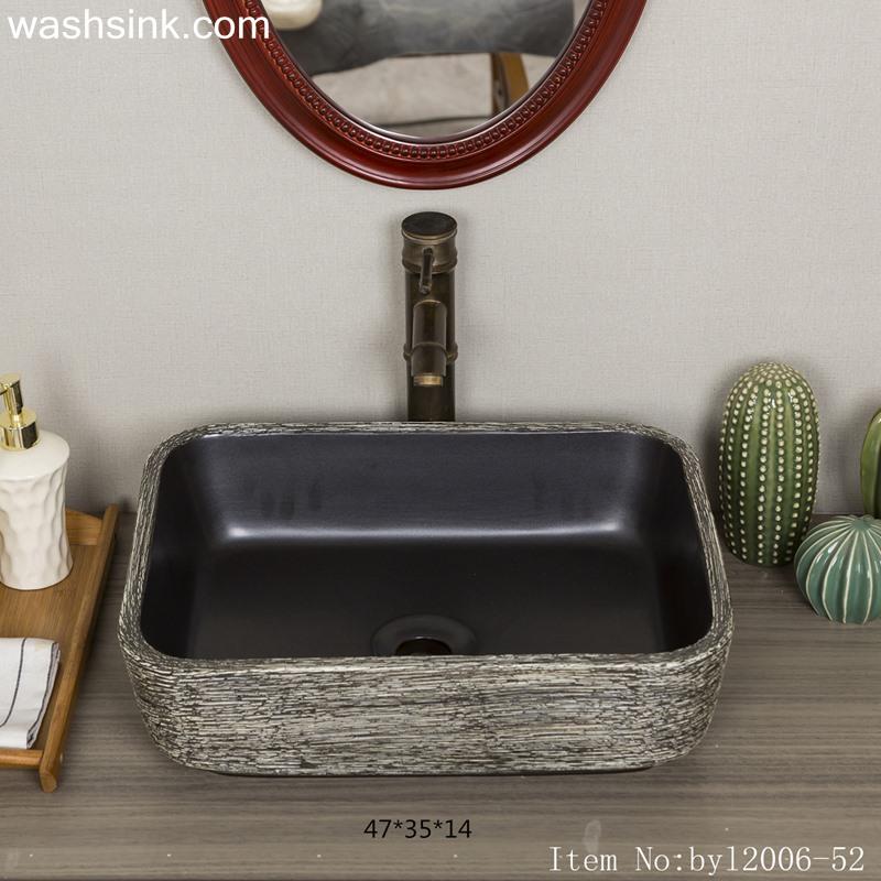 byl2006-52-1 byl2006-52 Jingdezhen square interior black ceramic creative washbasin - shengjiang  ceramic  factory   porcelain art hand basin wash sink