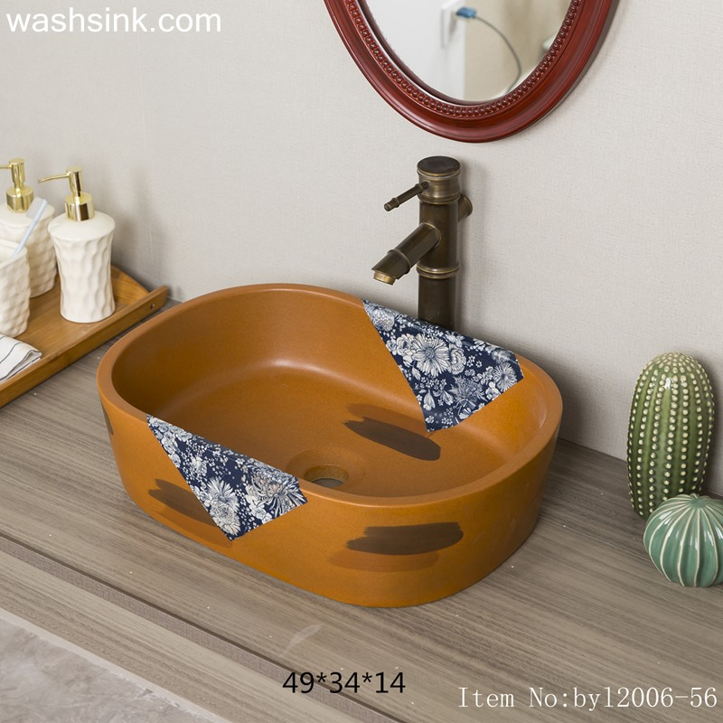 byl2006-56-2 byl2006-56 Palm yellow Chinese style chrysanthemum pattern creative washbasin - shengjiang  ceramic  factory   porcelain art hand basin wash sink