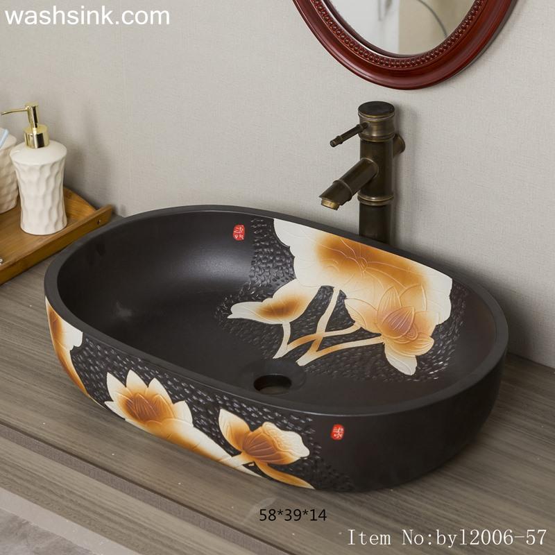 byl2006-57-1 byl2006-57 Creative wash basin with lotus pattern on black background - shengjiang  ceramic  factory   porcelain art hand basin wash sink