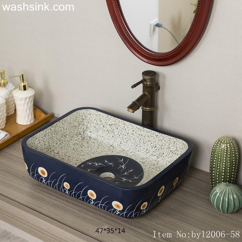 byl2006-58-1 byl2006-58 Jingdezhen handmade wash basin with dandelion pattern on dark blue background - shengjiang  ceramic  factory   porcelain art hand basin wash sink