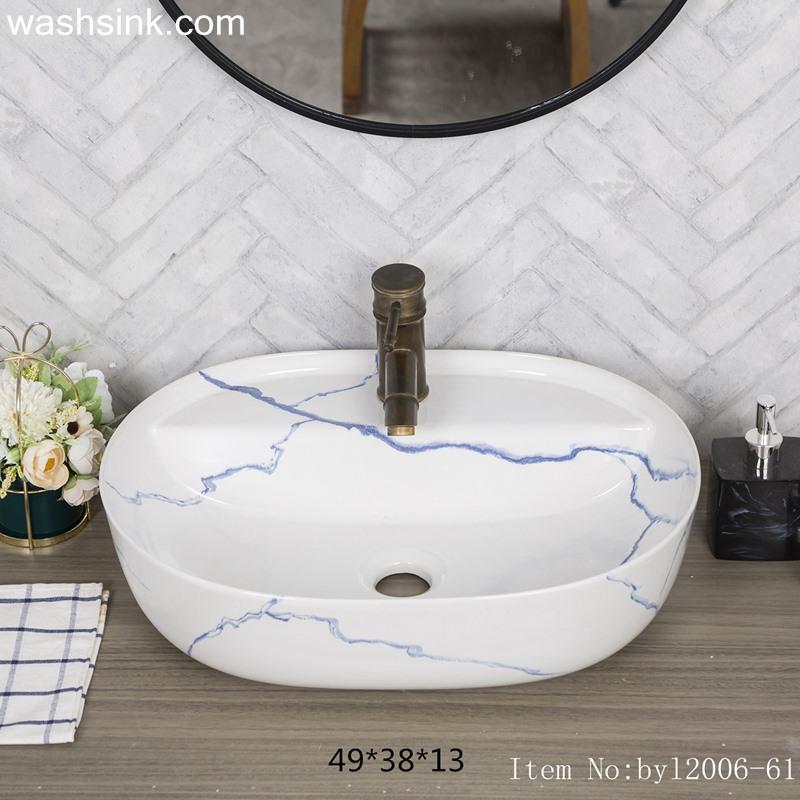 byl2006-61-1 byl2006-61 Shengjiang handmade glazed white washbasin with crack pattern - shengjiang  ceramic  factory   porcelain art hand basin wash sink