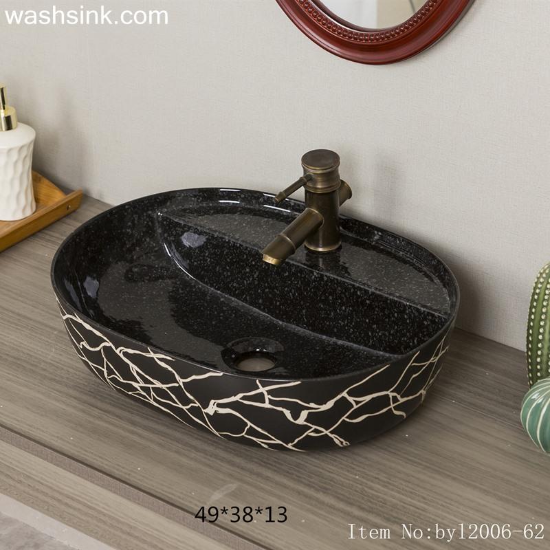 byl2006-62-1 byl2006-62 Shengjiang Handmade Black washbasin with crack pattern - shengjiang  ceramic  factory   porcelain art hand basin wash sink