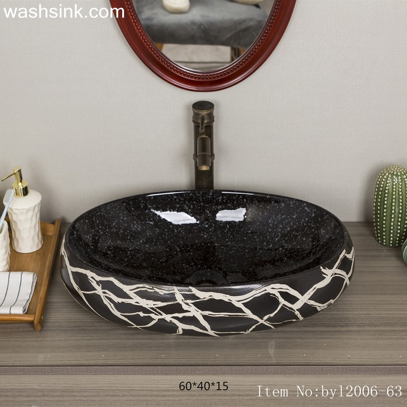 byl2006-63-1 byl2006-63 Shengjiang Handmade Black washbasin with crack pattern - shengjiang  ceramic  factory   porcelain art hand basin wash sink