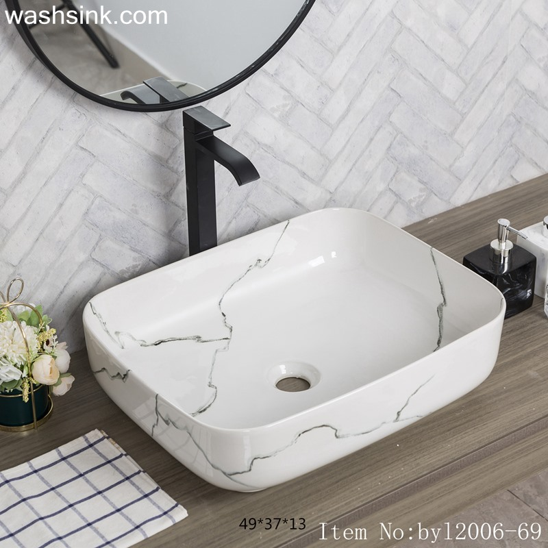 byl2006-69-1 byl2006-69 Shengjiang grey crack pattern ceramic square washbasin - shengjiang  ceramic  factory   porcelain art hand basin wash sink