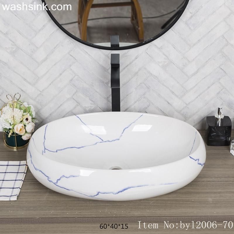 byl2006-70-1 byl2006-70 Shengjiang ceramic washbasin with blue crack pattern - shengjiang  ceramic  factory   porcelain art hand basin wash sink