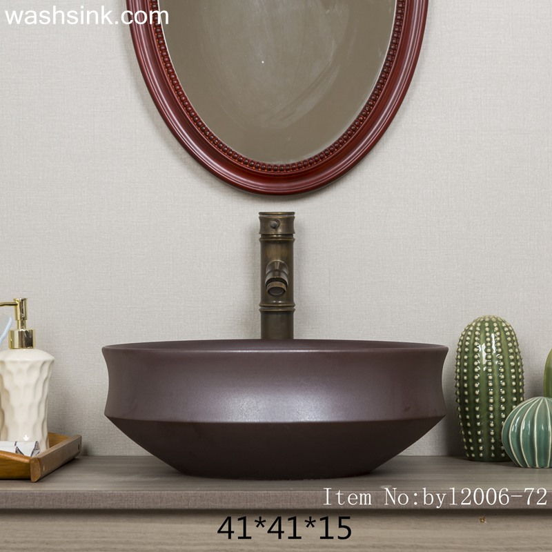 byl2006-72-1 byl2006-72 Jingdezhen matte black brown ceramic washbasin - shengjiang  ceramic  factory   porcelain art hand basin wash sink