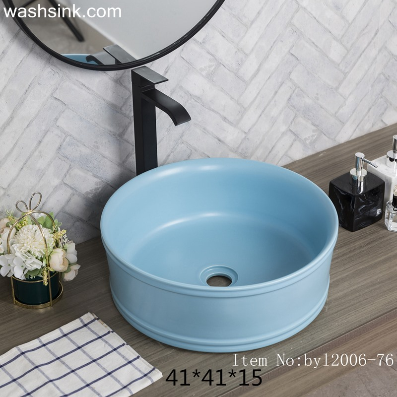 byl2006-76-1 byl2006-76 Shengjiang blue round washbasin with circular - shengjiang  ceramic  factory   porcelain art hand basin wash sink