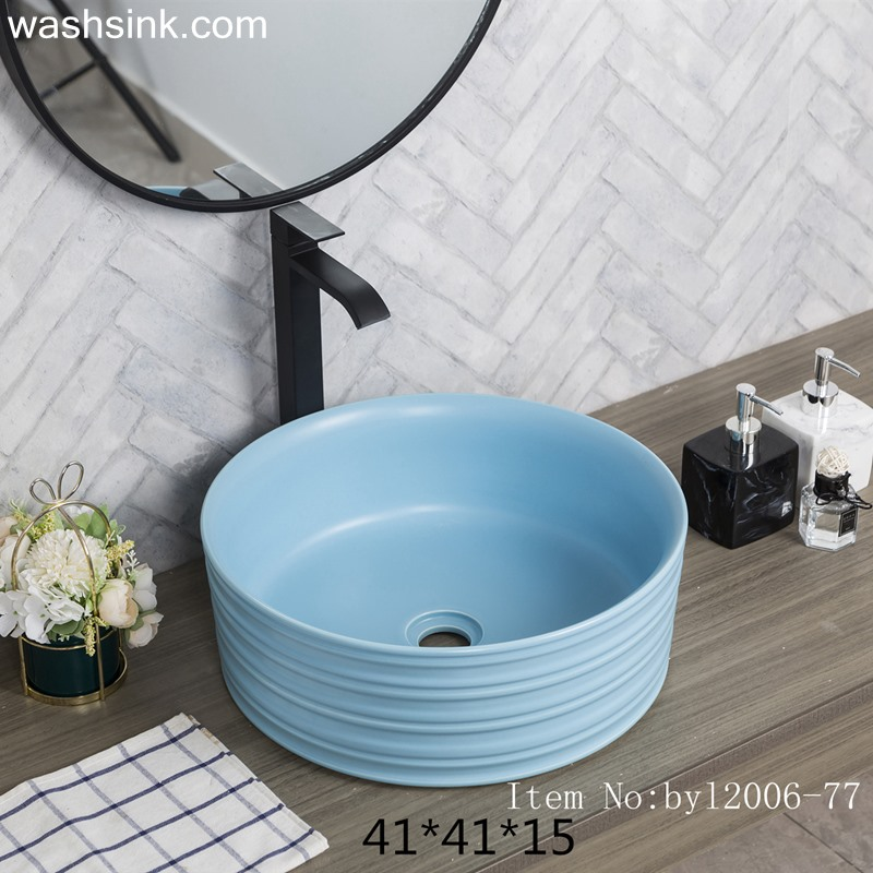 byl2006-77-1 byl2006-77 Jingdezhen sky-blue round washbasin with circular pattern - shengjiang  ceramic  factory   porcelain art hand basin wash sink