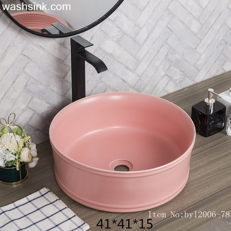 byl2006-78-2 byl2006-78 Jingdezhen pink round washbasin with circular pattern - shengjiang  ceramic  factory   porcelain art hand basin wash sink