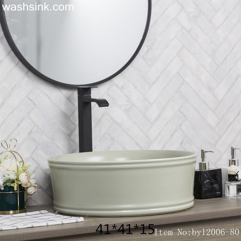 byl2006-80-1 byl2006-80 Jingdezhen creative solid color round washbasin with ring - shengjiang  ceramic  factory   porcelain art hand basin wash sink