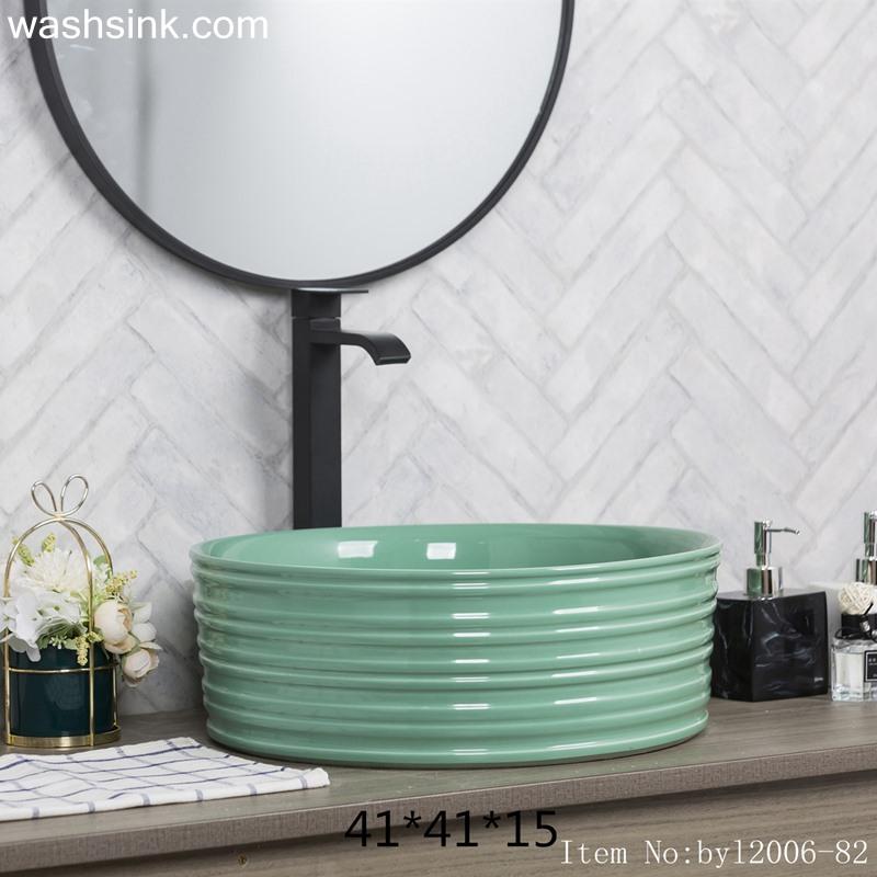 byl2006-82-1 byl2006-82 Jingdezhen creative lake-green round washbasin with ring - shengjiang  ceramic  factory   porcelain art hand basin wash sink