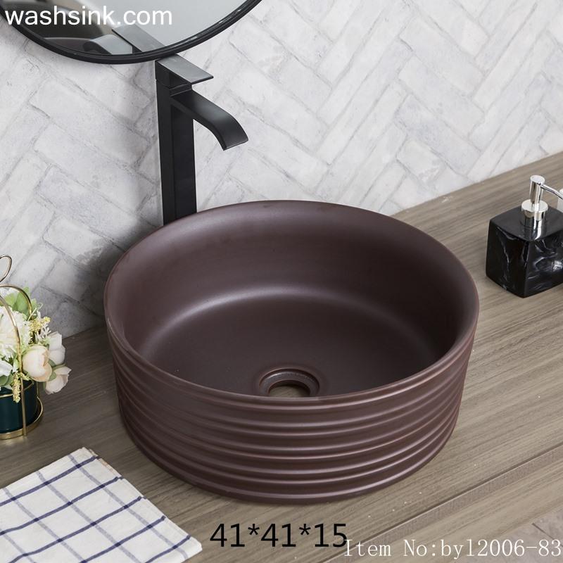 byl2006-83-1 byl2006-83 Jingdezhen black brown round washbasin with ring - shengjiang  ceramic  factory   porcelain art hand basin wash sink