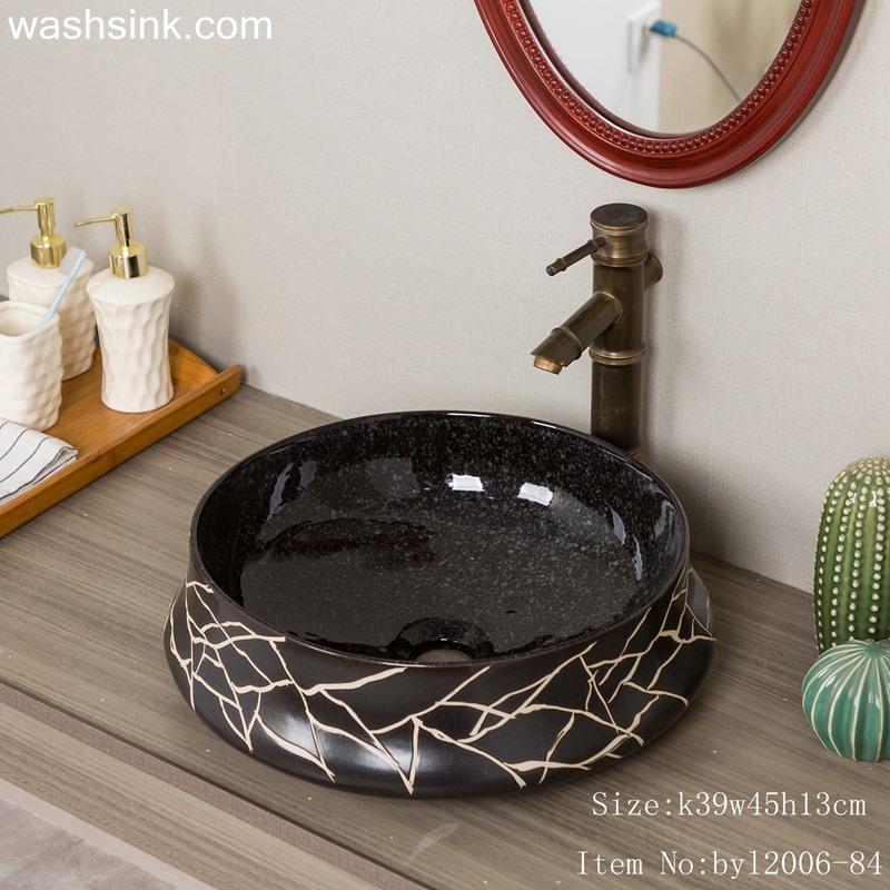 byl2006-84-1 byl2006-84 Jingdezhen black brown round glazed washbasin with crack pattern - shengjiang  ceramic  factory   porcelain art hand basin wash sink