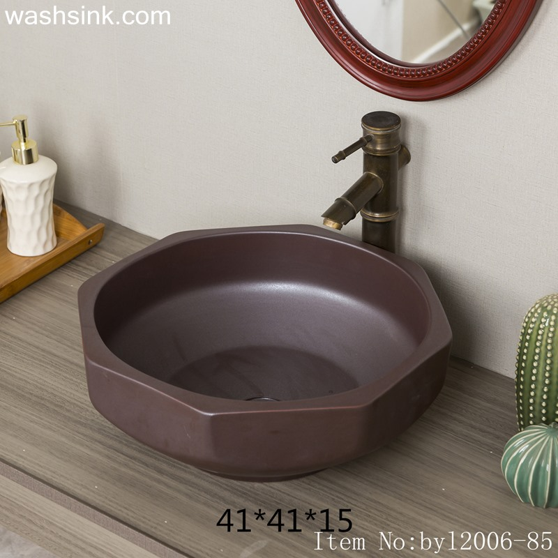 byl2006-85-1 byl2006-85 Jingdezhen matte black brown polygon glazed washbasin - shengjiang  ceramic  factory   porcelain art hand basin wash sink