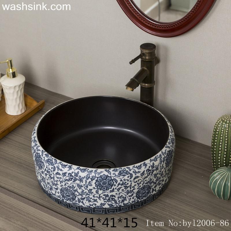byl2006-86-2 byl2006-86 Jingdezhen black brown round glazed washbasin with crack pattern - shengjiang  ceramic  factory   porcelain art hand basin wash sink