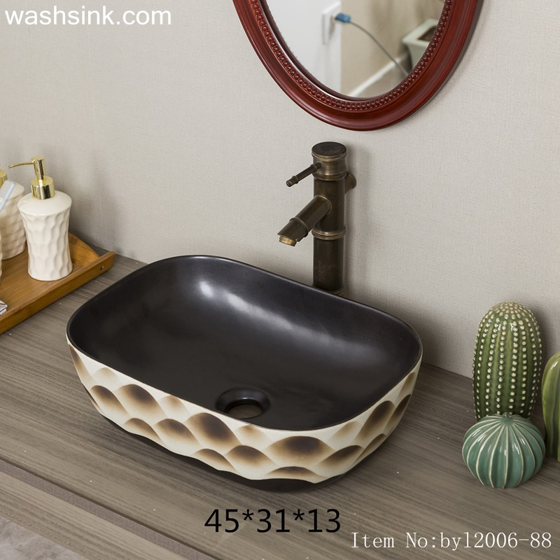 byl2006-88-1 byl2006-88 Shengjiang matte Hill artistic conception ceramic washbasin - shengjiang  ceramic  factory   porcelain art hand basin wash sink