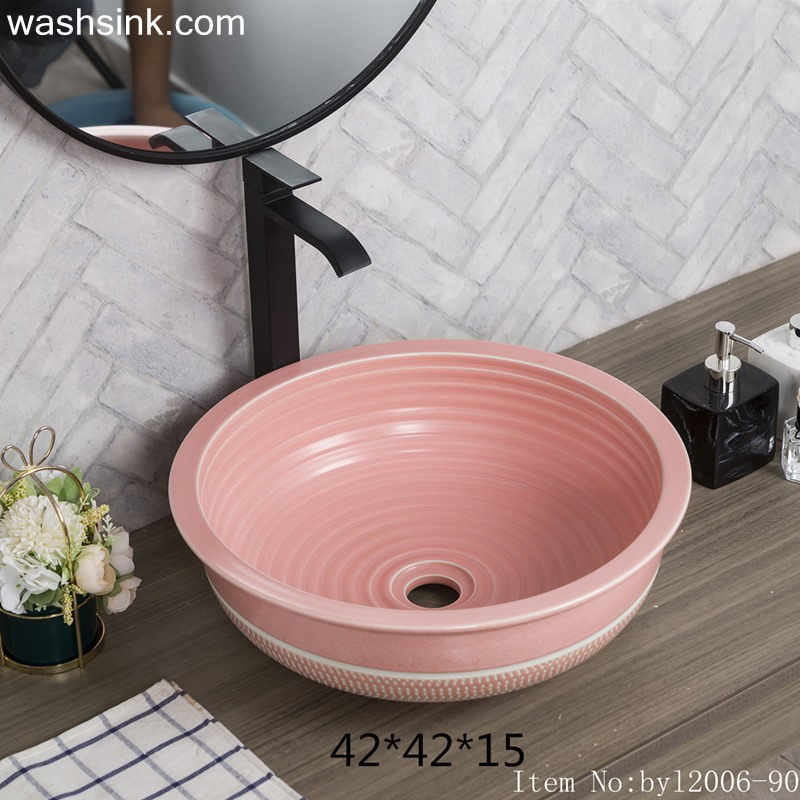 byl2006-90-1 byl2006-90 Jingdezhen lotus pink ceramic washbasin with coil pattern - shengjiang  ceramic  factory   porcelain art hand basin wash sink