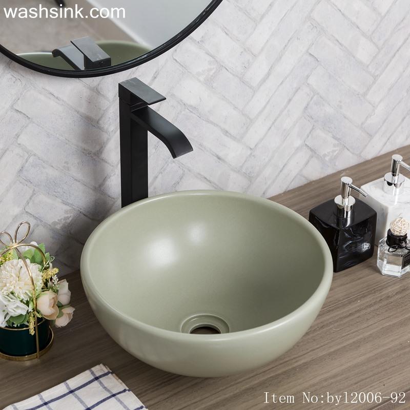 byl2006-92-1 byl2006-92 Jingdezhen exquisite Matt light green ceramic washbasin - shengjiang  ceramic  factory   porcelain art hand basin wash sink