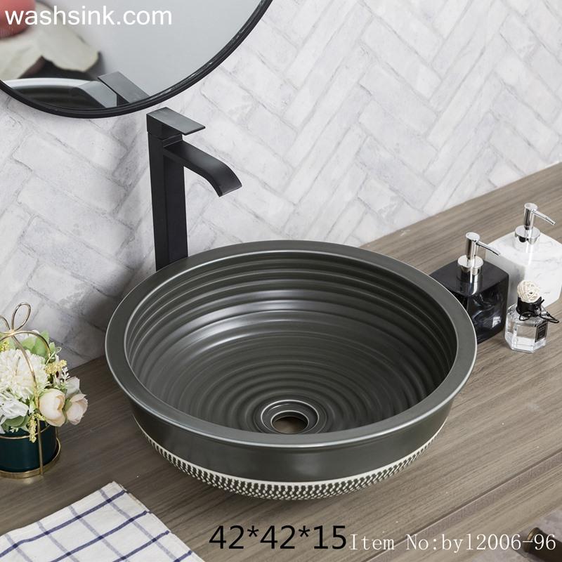 byl2006-96-1 byl2006-96 Jingdezhen matte black creative pattern ceramic washbasin - shengjiang  ceramic  factory   porcelain art hand basin wash sink