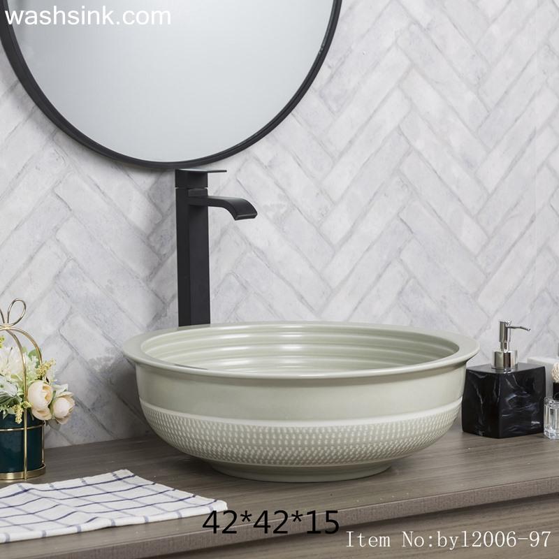 byl2006-97-1 byl2006-97 Jingdezhen glazed pure color creative pattern ceramic washbasin - shengjiang  ceramic  factory   porcelain art hand basin wash sink