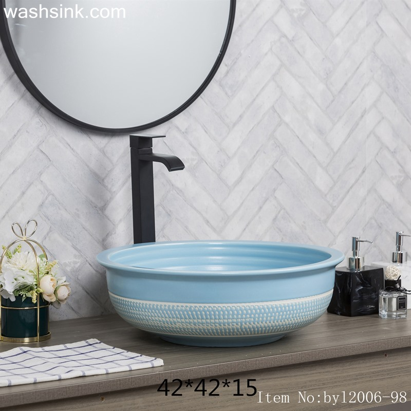 byl2006-98-1 byl2006-98 Jingdezhen glazed pure color creative pattern ceramic washbasin - shengjiang  ceramic  factory   porcelain art hand basin wash sink