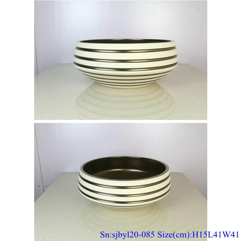 sjbyl20-085-台盆-金属釉和电镀系列-亚金环道 sjby120-085 Jingdezhen hand painted sub gold ring road pattern washbasin - shengjiang  ceramic  factory   porcelain art hand basin wash sink