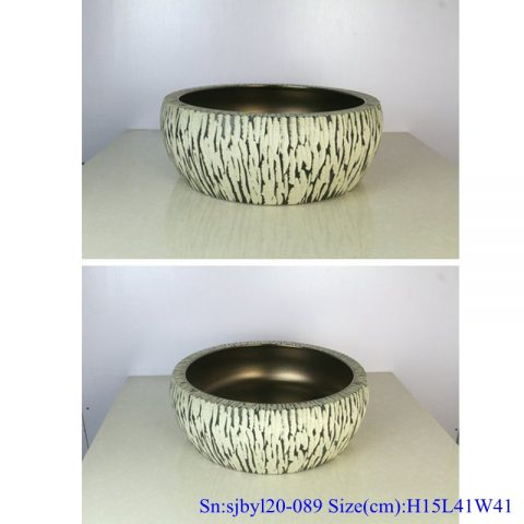 sjby120-089 Jingdezhen hand-painted sub gold mink pattern washbasin