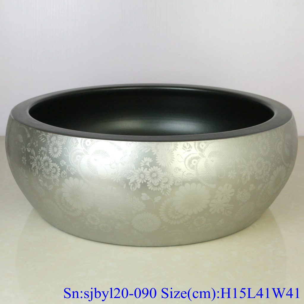 sjbyl20-090-台盆-金属釉和电镀系列-亚黑银蝶舞-1024x1024 sjby120-090 Jingdezhen hand painted sub Black Silver Butterfly dance design washbasin - shengjiang  ceramic  factory   porcelain art hand basin wash sink