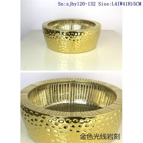 sjby120-132Jingdezhen golden light stone pattern ceramic washbasin