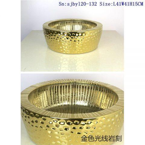 sjby120-132Jingdezhen golden light stone pattern ceramic washbasin