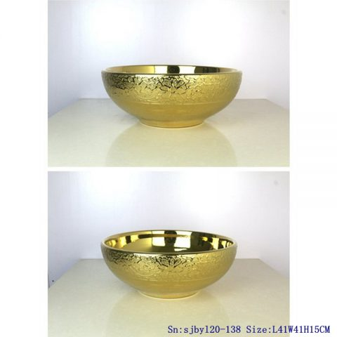 sjby120-138 Ceramic round washbasin with golden chrysanthemum pattern