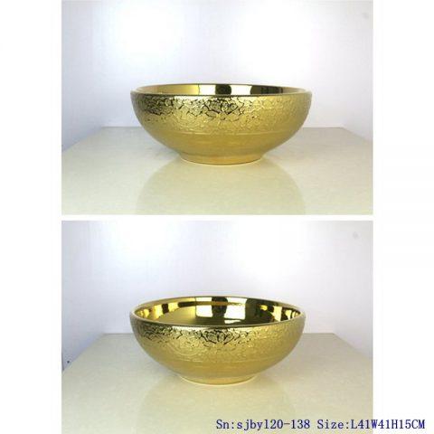 sjby120-138 Ceramic round washbasin with golden chrysanthemum pattern