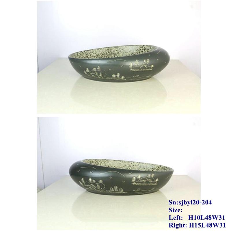 sjbyl20-204-江山如画 sjby120-204 Hand painted washbasin with picturesque scenery in Jingdezhen - shengjiang  ceramic  factory   porcelain art hand basin wash sink