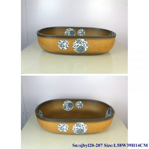 sjby120-207 Hand painted wash basin with lotus flower pattern in Jingdezhen