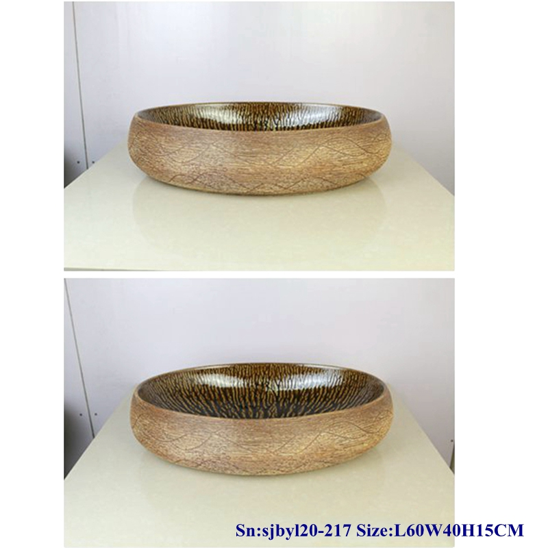 sjbyl20-217-黑森林波纹-1 sjby120-217 Jingdezhen Black Forest ripple pattern ceramic washbasin - shengjiang  ceramic  factory   porcelain art hand basin wash sink
