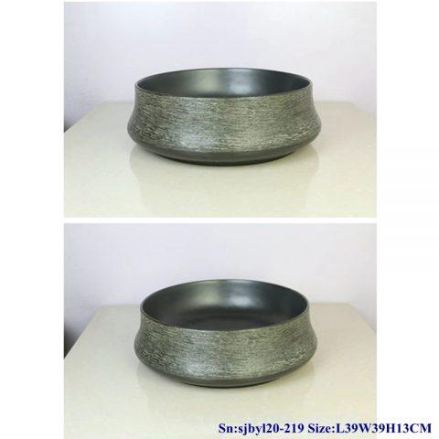 sjby120-219 Jingdezhen ceramic washbasin with silk thread pattern on black background