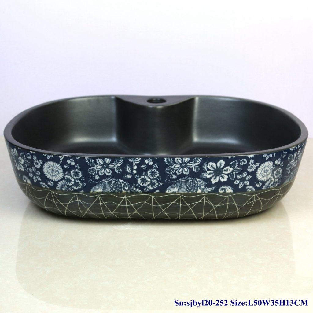 sjbyl20-252-(椭圆带孔)线条梦蝶-1024x1024 sjby120-252 Jingdezhen Hand painted line dream butterfly pattern ceramic washbasin - shengjiang  ceramic  factory   porcelain art hand basin wash sink