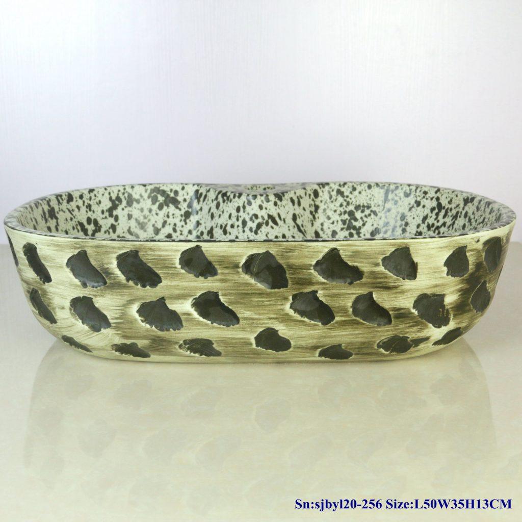 sjbyl20-256-(椭圆带孔)洒点青石-1024x1024 sjby120-256 Jingdezhen Hand painted ceramic washbasin with bluestone pattern - shengjiang  ceramic  factory   porcelain art hand basin wash sink
