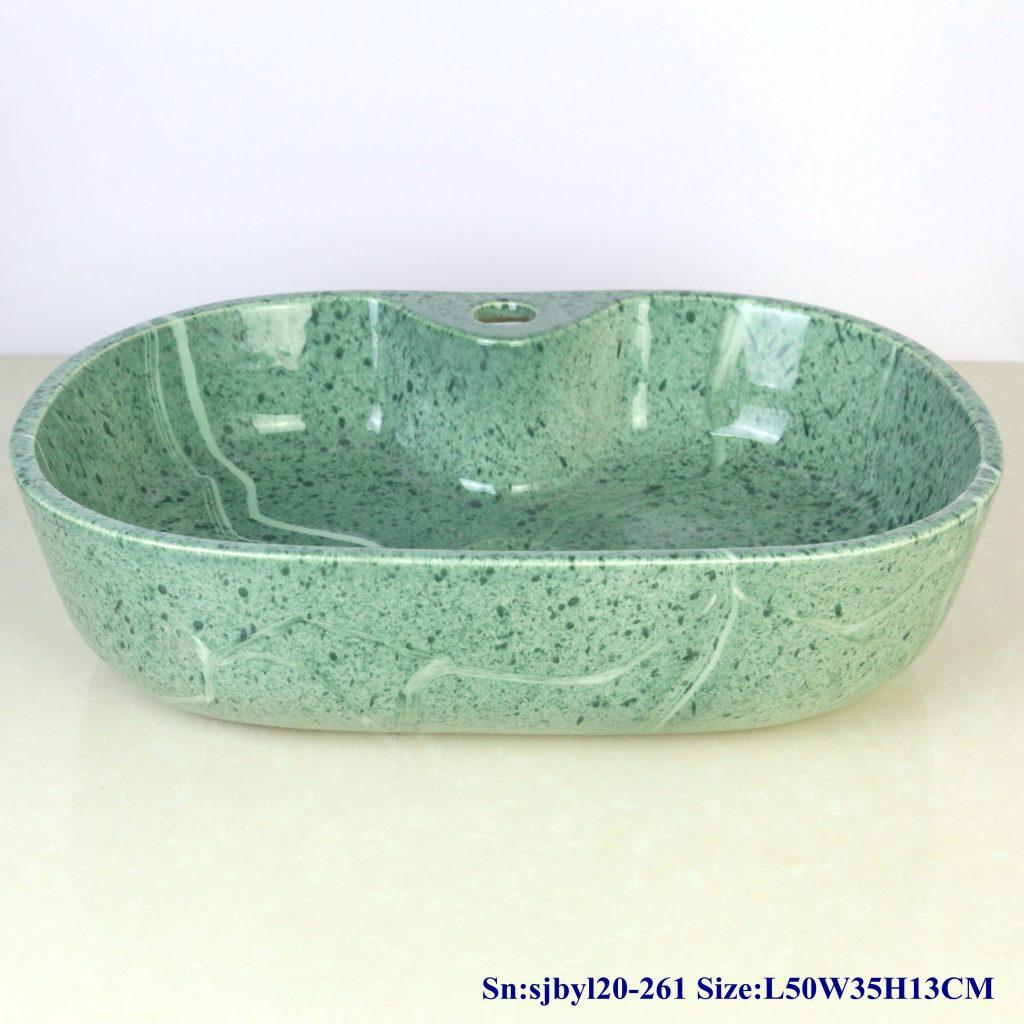 sjbyl20-261-(椭圆带孔)绿草如茵-1024x1024 sjby120-261 Jingdezhen Hand painted  Ceramic washbasin with green grass pattern - shengjiang  ceramic  factory   porcelain art hand basin wash sink