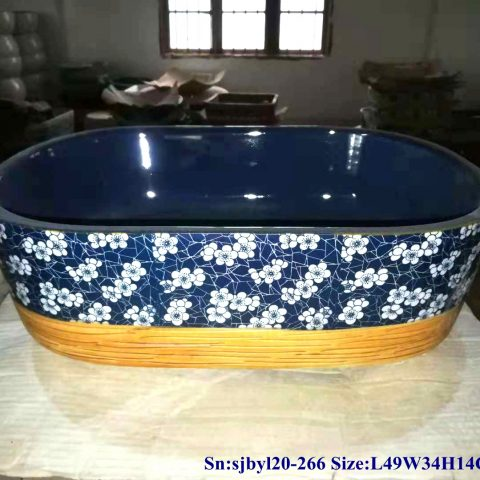 sjby120-266 Jingdezhen Hand painted Ceramic wash basin with ice plum blossom glaze pattern