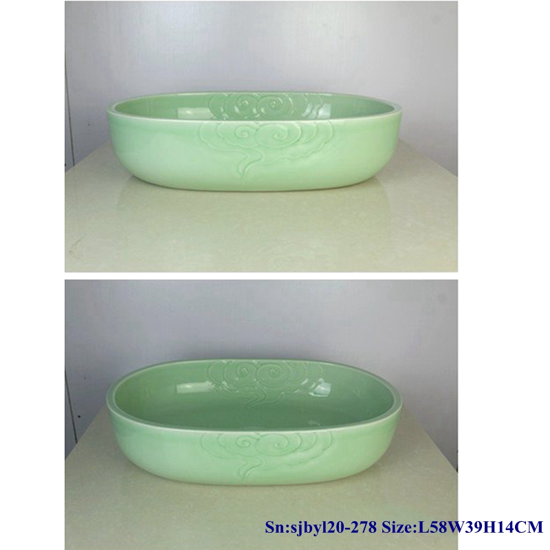 sjbyl20-278-玉色祥云 sjby120-278 Jingdezhen Hand painted Jade cloud pattern ceramic washbasin - shengjiang  ceramic  factory   porcelain art hand basin wash sink