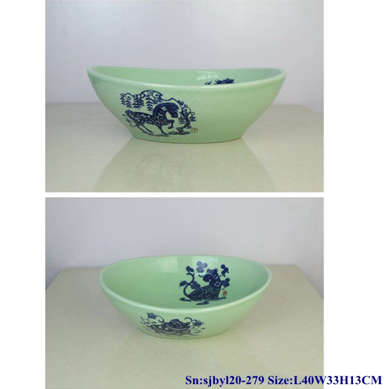 sjbyl20-279-玉青生肖70 sjby120-279 Jingdezhen Hand painted Ceramic washbasin with jade green Zodiac pattern - shengjiang  ceramic  factory   porcelain art hand basin wash sink