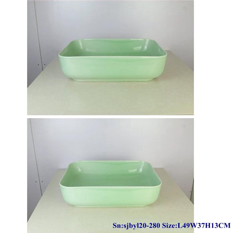 sjbyl20-280-玉青盆100 sjby120-280 Jingdezhen Hand painted Ceramic washbasin with jade green basin pattern - shengjiang  ceramic  factory   porcelain art hand basin wash sink