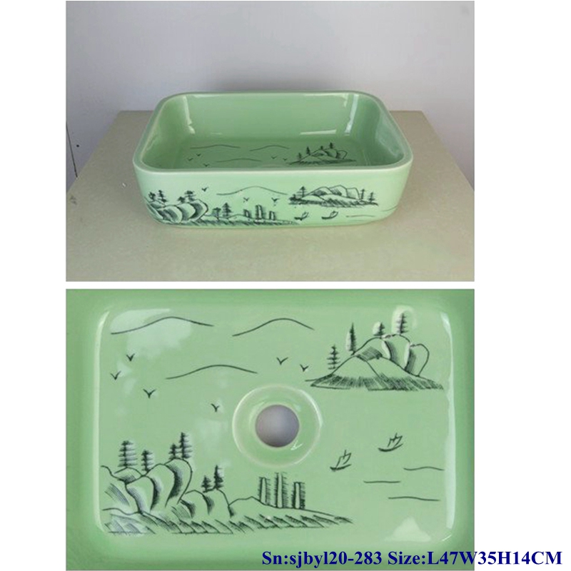 sjbyl20-283-玉砌山石 sjby120-283 Jingdezhen Hand painted Jade green basin rectangular ceramic washbasin - shengjiang  ceramic  factory   porcelain art hand basin wash sink